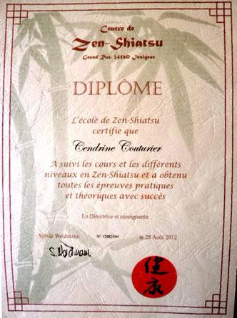 diplôme Shiatsu Cendrine Couturier Agen