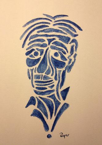 Ein blauer Kopf, 17x23cm, Farbstift aquarelliert auf Papier, 2013