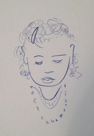 A la nièce, 10x15cm, Farbstift auf Papier, 2012