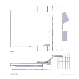 Bed with desk design - plan and elevation sketches by Heidi Mergl Architect