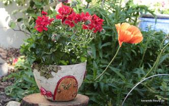 Gartenkeramik Blumentopf Wichtelhaus