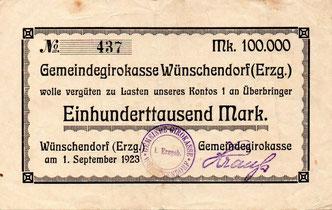 Bild: Wünschendorf Erzgebirge Notgeld 1923