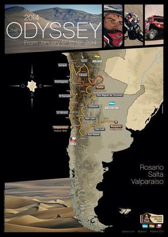 Dakar Rally, 2014 Route Map Poster