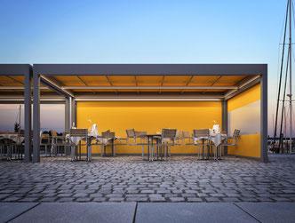 markilux markant gelb Gastronomie großflächenbeschattung markise Hotel fink markisen Sonnenschutz