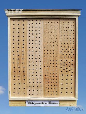 Insektenhotel Insektennisthilfe Nisthilfe Esche  ash Bohrungen im Hartholz hard wood insect hotel nisting aid wildbee bug house Bohrungen im Hartholz Bambus