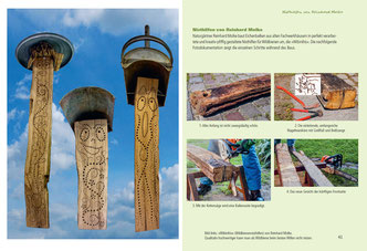 Doppelseiten mit Fotos illustrieren bestimmte Teilaspekte des Lebens an einer Nisthilfe, zum Beispiel: den Schlupf aus dem Kokon,  die Entwicklung der Larven,  Paarung,  das bizarre Schlafverhalten, typische Parasiten,  solitäre Wespen in markhaltigen Ste