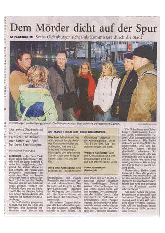 """Zeitungsartikel der NWZ vom 29.01.2007: """"Dem Mörder dicht auf der Spur""""- Quelle: Nordwest-Zeitung Oldenburg"""
