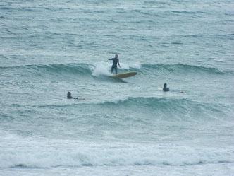 風が強くなって波も上がってきましたが風で抑えられた波でした。