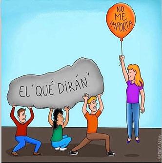 """Ilustración de una chica con el mensaje de un globo: """"No me importa"""" y personas con una losa sobre ellos: """"el que dirán"""""""