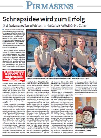 Regionalzeitung PZ stellt das Startup MoCo vor
