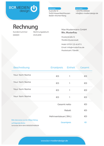 Rechnungsvorlgen individuell Dienstaleistung BCR Mediendesign