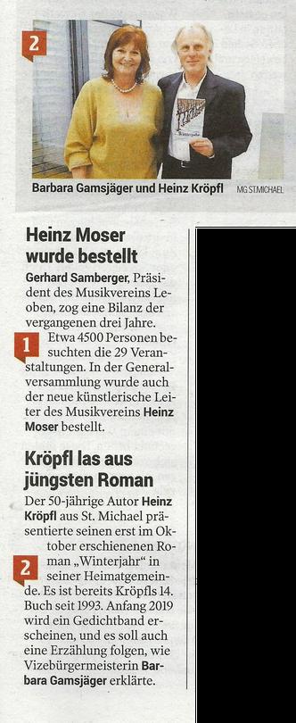 Heinz Kröpfl Barbara Gamsjäger Buchpräsentation Lesung Roman Winterjahr Iatros Verlag St. Sankt Michael in Obersteiermark