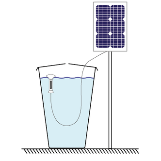 Sonnenenergie, Solarzelle, Regentonnenwasser, Wasseraufbereitung, Regenwasser sauber halten, greentech, Sistema de capacion de agua de Iluvias