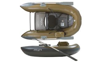 ポンツーンならオール付きだから脚力のない人でも移動が楽チン。重さは16kg弱で小型ボートより軽い。