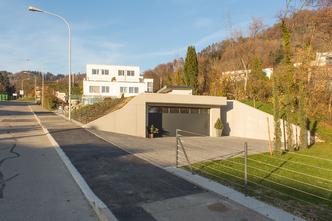 Starkl Vieli Architekten Doppelgarage mit Gartenpavillon Hausen am Albis