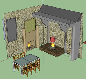 Reconstitution de la salle de séjour coté cuisine. avec la cheminée à droite et le Bugeadier pour la lessive à gauche.