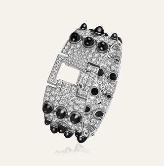 """High Jewelry Bracelet """"Art Deco"""" aus Weissgold mit Diamanten und Onyx"""