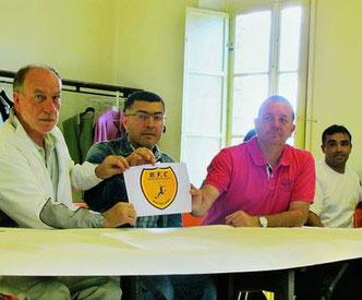 Le maire M. Gaudot accompagné du vice Président du FC TURC (Nevzat Polat) et du président de l'ESBB (Manu Gauthrin)