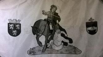 Figure de Saint-Martin - Drapeau de la Mutualité de Secours Saint-Martin