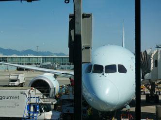 ハワイ ホノルル国際空港 出発を待つ飛行機の写真 空港送迎 ハワイおくるまドットコム