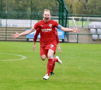Freude bei Robin Brand nach seinem Treffer zum 2:0 (Foto: Karsten Hannover)
