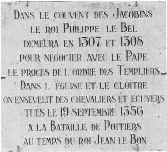 Plaque commémorative de la rencontre de Philippe le Bel et Clément V - Ainsi que de la bataille de Poitiers en 1356