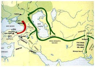 Mapas con las rutas que siguieron las invasores indoeuropeos en sus incursiones en el continente.asiático
