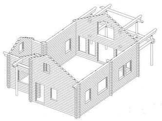 Blockbalkenrahmen (Blockbalkenskelett) - Blockhaus kaufen, planen, bauen - Blockhausbausatz - Blockbalkenrahmen - Eigenleistungen - Selbstabuhaus - Rohbauhaus - Ausbauhaus - Komplettmontage - Werkplanung - Blockhausbauer - Hausbau - Wohnhaus - Bauherr