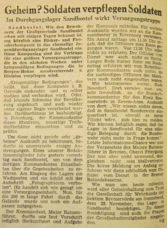 Geheim? Soldaten verpflegen Soldaten. Im Durchgangslager Sandbostel wirkt Versorgungstruppe. In: Bremervörder Zeitung vom 20.11.1964
