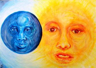 Sonne und Mond. Nach der nordischen Mythologie war Mani der Sohn des Riesen Mundilfari und der Bruder der Sonnengoettin Sol.