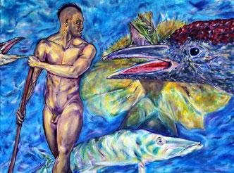 Der mythische Faehrmann, Charon, der die Toten zum Eingang in die Unterwelt begleitet.