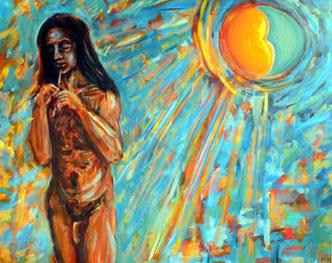 Der junge Floetenspieler personifiziert den aztekischen Gott Tezcatlipoca. Die Azteken glaubten, sein Opfertod garantiere die Wiedergeburt des Gottes der Nacht und der Materie.