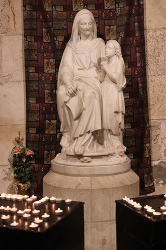 The statue of St Anne and Virgin Mary in St Anne Church