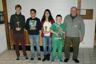 von links nach rechts:  Niklas Kutsche, Lois Köth, Lisa Köth, Mario Beyer, Stefan Retterath