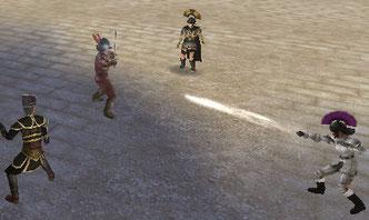 鋭いダガースローをボスが剣でガード