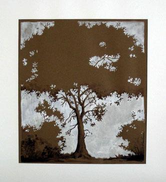 arbre et buissons - gouache sur papier coloré
