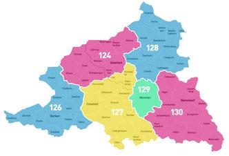 Das Münsterland besteht zur Bundestagswahl 2017 aus sechs Wahlkreisen.