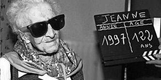 Jeanne Calment bei ihrem 122. Geburtstag.