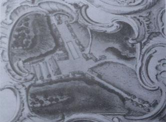 Vue de la Verrerie établie à l'occasion de l'arpentage de 1758 - Archive St-Gobain - verrerie de lettenbach saint-quirin