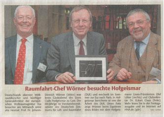 HNA, 12.3.2015: Erster (Vor-)Bericht der HNA zum Vortrag Prof. Dr. Jan Wörners über das DLR