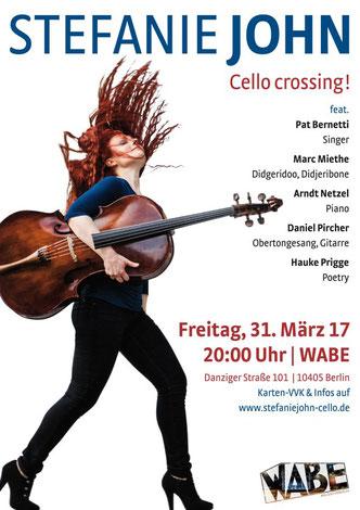 Plakat für ein besonderes Cellokonzert in Berlin - Eine Cellistin mit roten Haaren trägt ein 5-saitiges selbstgebautes Instrument - berühmte Cello-Klassiker, Weltmusik, Pop, Poesie