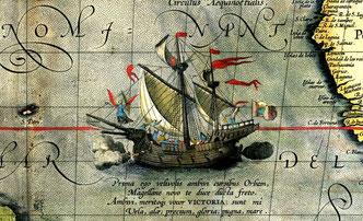 La nave Victoria en un mapa de Abraham Ortelius de 1589/  Wikimedia Commons