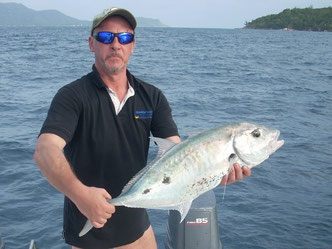 Seychelles fishing Trevally spinning catch