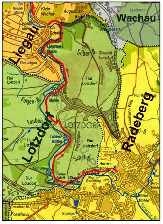 Übersichtskarte An den Leithen, Lotzdorf, Liegau mit den heutigen Grenzen der Gemarkungen (Fluren) Radeberg, Lotzdorf, Liegau und Wachau.