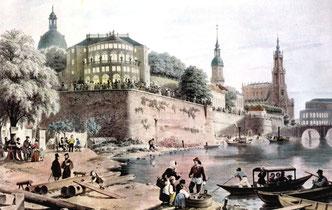 Brühlsche Terrasse Dresden mit dem vierten Belvedere. Zeichnung von W. Bässler um 1850