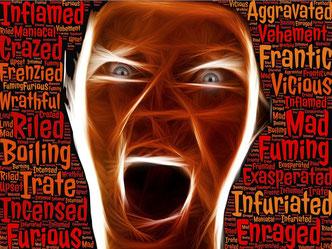 Gesicht in Rage
