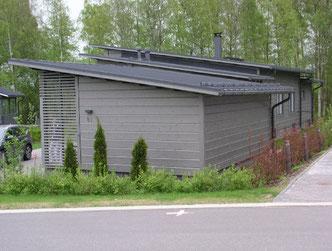Wohnhaus bauen - Wohnblockhaus - Pultdach - Wohngebäudeversicherung - Hausbau, Holzbau, Blockhausbau, Blockhaus