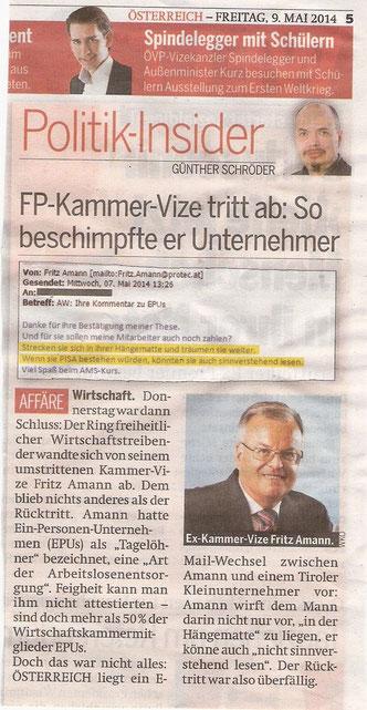 Quelle: ÖSTERREICH 09.05.2014