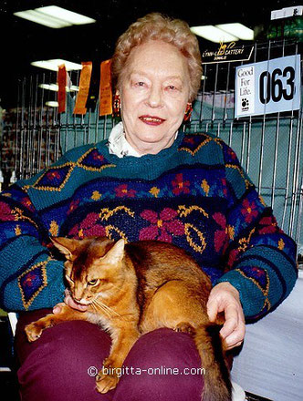 Evelyn Mague, Cattery Lynn Lee, eine der ersten Somali-Züchterinnen in Amerika, 1995 auf einer CFA-Cat-Show in Madison Square Garden, New York, Amerika, (c) Birgitta