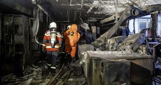 Die ausgebrannte Galvanikabteilung der Eta in Grenchen.